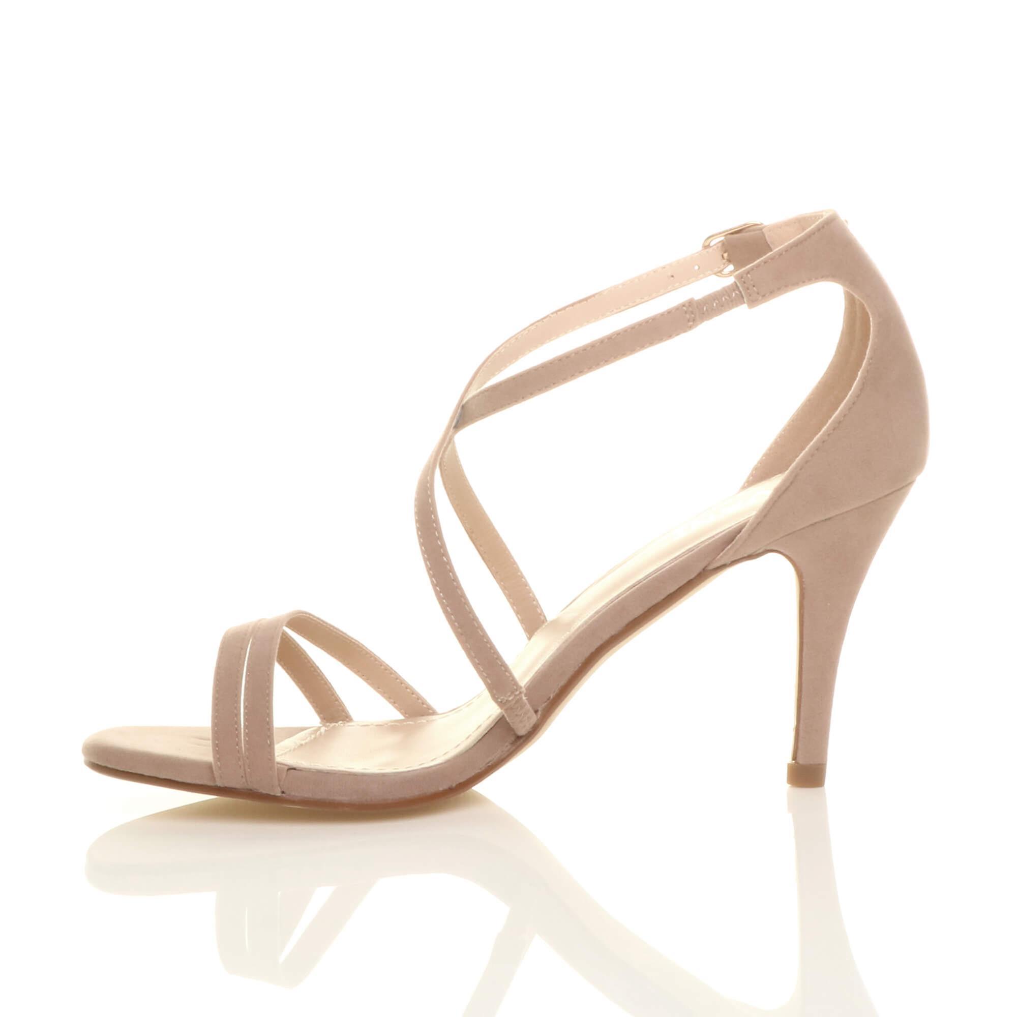 Ajvani Womens Mitte niedrige high Heel Riemchen Crossover Partei Hochzeit Prom Sandalen Schuhe