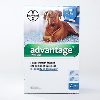 Advantage 400 (Blue) Spot on For X-Large Dogs 25-40kg (over 55lbs), 4 Pack