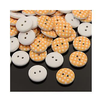 20 x Orange/White Wood 15mm Round 2-Holed Patterned Sew On Buttons HA14370