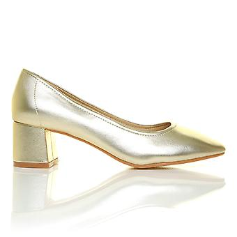 BOW Metalic Gold PU Low Heel Smart Slip On Casual Work Office Shoes