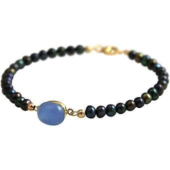 Women - bracelet - gold plated - Tahiti Pearl Grey chalcedony - blue - 18