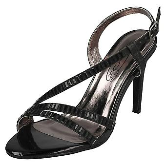 Ladies Spot On High Heel Diamante Sandals F10839 - Black Textile - UK Size 7 - EU Size 40 - US Size 9