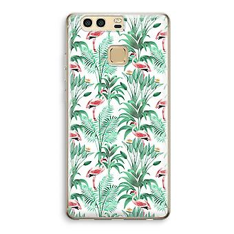 Huawei P9 Transparent Case (Soft) - Flamingo leaves