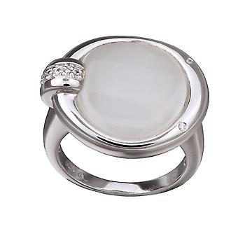 Orphelia sølv 925 Ring runde hvide Cateye ZR-3647