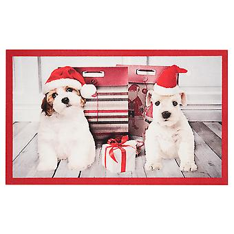 Doormat dirt trapping pad Christmas dogs Christmas dogs red 45 x 75 cm