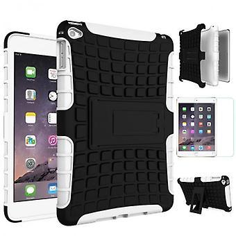Hybrid udendørs etui hvid for iPad Mini 4 lomme + 0,3 H9 hærdet glas