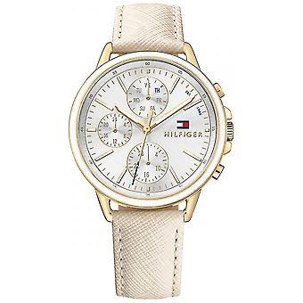 Tommy Hilfiger Womens Carly cuir blanc bracelet cadran blanc 1781790 montre