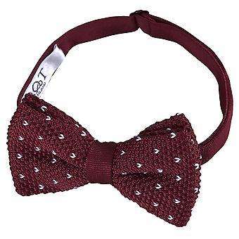 Burgundy Flecked V Polka Dot Knitted Pre-Tied Bow Tie