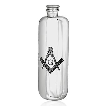 Masonic Pewter Top Pocket Hip Flask - 3 oz