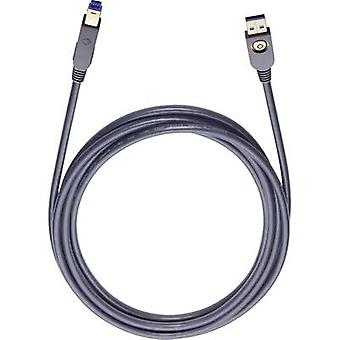 Oehlbach USB 3.0 Cable [1x USB 3.0 connector A - 1x USB 3.0 connector B] 5 m Black gold plated connectors