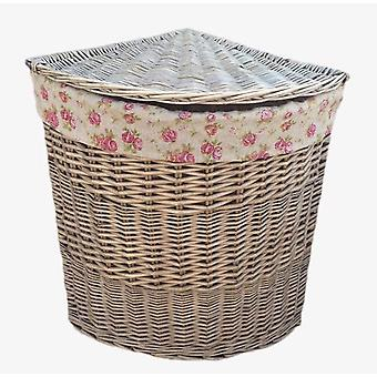 Large Antique Wash Round Linen Basket With Garden Rose Lining