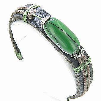 Super ægte læder og grøn perle armbånd