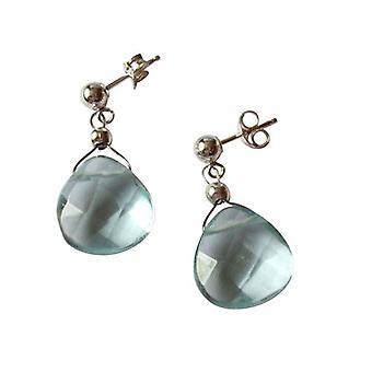 Gemshine - damer - øreringe - 925 sølv - krystal - facetteret - blå - 2 cm