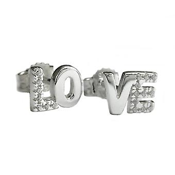 Silver studs LOVE cubic zirconia earrings love Valentine's 925 sterling silver
