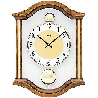 AMS 7447/4 væg ur kvarts analog swing dobbelt pendul træ eg solid med glas
