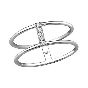 Double Line - 925 Sterling Silver Jewelled Rings - W37983x