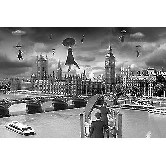 Blown away poster London houses of Parliament artist: Thomas Barbey