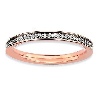 Sterlingsølv poleret Prong indstille stabelbare udtryk og Diamonds Pink forgyldt Ring - ringstørrelse: 5-10