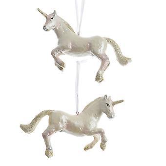 TRIXES Unicorn Xmas hars opknoping Ornament pareleffect met gouden Glitters