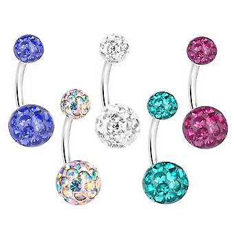 5 Indstil mave Navle Piercing pakke, Multi krystalkugle | Forskellige farver & størrelser