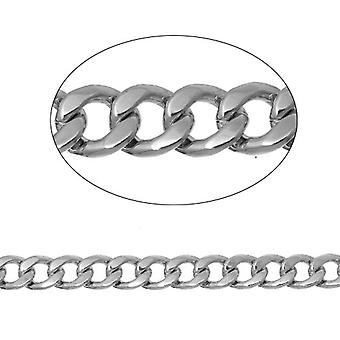 2m x Silver Tone Anti anløpe jern legering 6 x 7mm åpne dempe kjede CH1485
