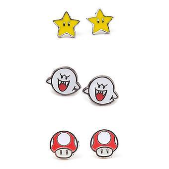 任天堂セット 3 ペア ・ スタッド ピアスのブーのスーパー スターとキノコ (JS201606NTN)