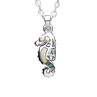Jo For Girls Sterling Silver Paua Shell Seahorse Pendant Necklace 14