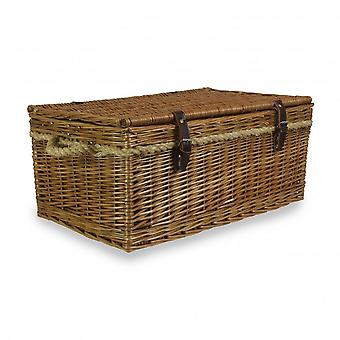 60cm Double Steamed Rope Handled Wicker Trunk