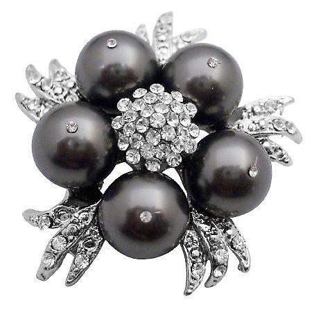 Match Your Brooch w/ Swarovski Dark Grey Dress Pearls Brooch