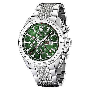 Festina | Mens Chronograph & hora Dual | Dial de verde | Relógio de pulseira de aço F20439/3