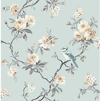 Feine Dekor Chinoiserie Floral Blume Vogel Blau/Petrol Schwergewichts-Wallpaper