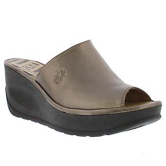 Womens Fly London Jamb Idra Metallic Bronze Peep Toe Wedge Heel Sandals