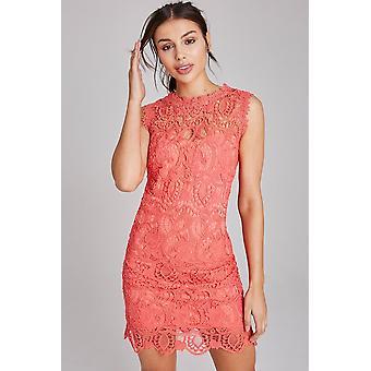 Paper Dolls Grafton Coral Lace Shift Dress