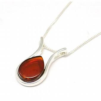 Toc Sterling Silver Tear Drop Shaped Amber Pendant on 18 Inch Chain