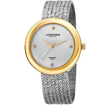 Akribos XXIV AK903TTG Diamond Hour Marker Gold Tone Steel Mesh Watch