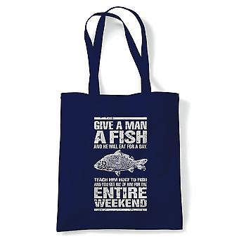 Ge en man en fisk rolig karp fiske Tote | Mete fiskare fiske bete line Bite Reel Rod | Återanvändbara shopping bomull canvas lång hanteras Natural Shopper miljö vänligt mode
