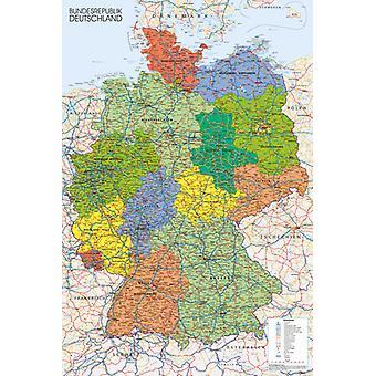 Tyskland karta Maxi affisch 61x91.5cm