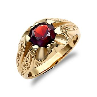 Jewelco London Men's Solid 9ct Yellow Gold Round Brilliant Garnet Solitaire Carved Gypsy Ring