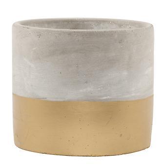 Sass & Belle Tuva Gold Dip Cement Planter