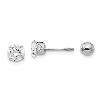 14k White Gold Polished Screw back Post Earrings 5mm Cubic Zirconia and 4mm Ball Reversible Earrings - Measures 4x4mm