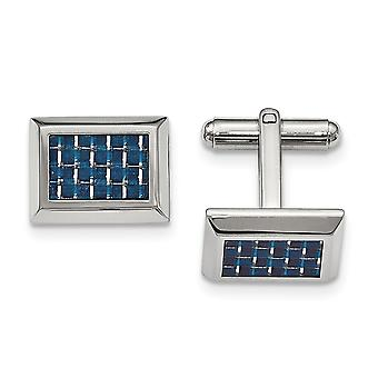 Stainless Steel Polished With Blue Carbon Fiber Cuff Links