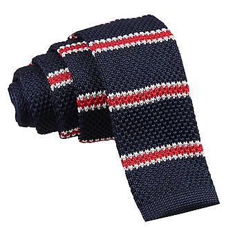 Men's Knitted Navy with Red & White Thin Stripe Tie