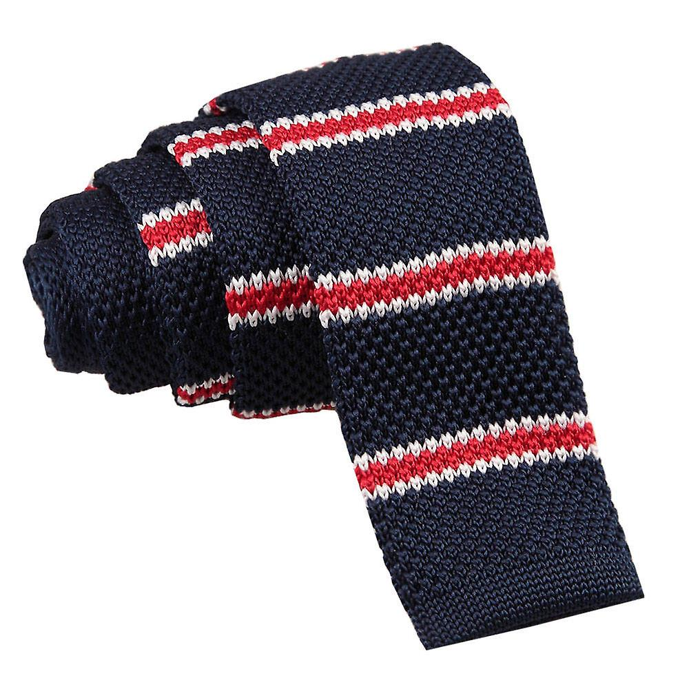 Navy with Red & White Thin Stripe Skinny Knitted Tie