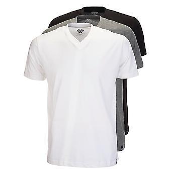 Dickies Multi farge V hals t-skjorte Pack - hvit / grå / svart