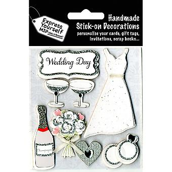 Express Yourself MIP 3D Stickers-Wedding Day Dress & Champagne DIYT427