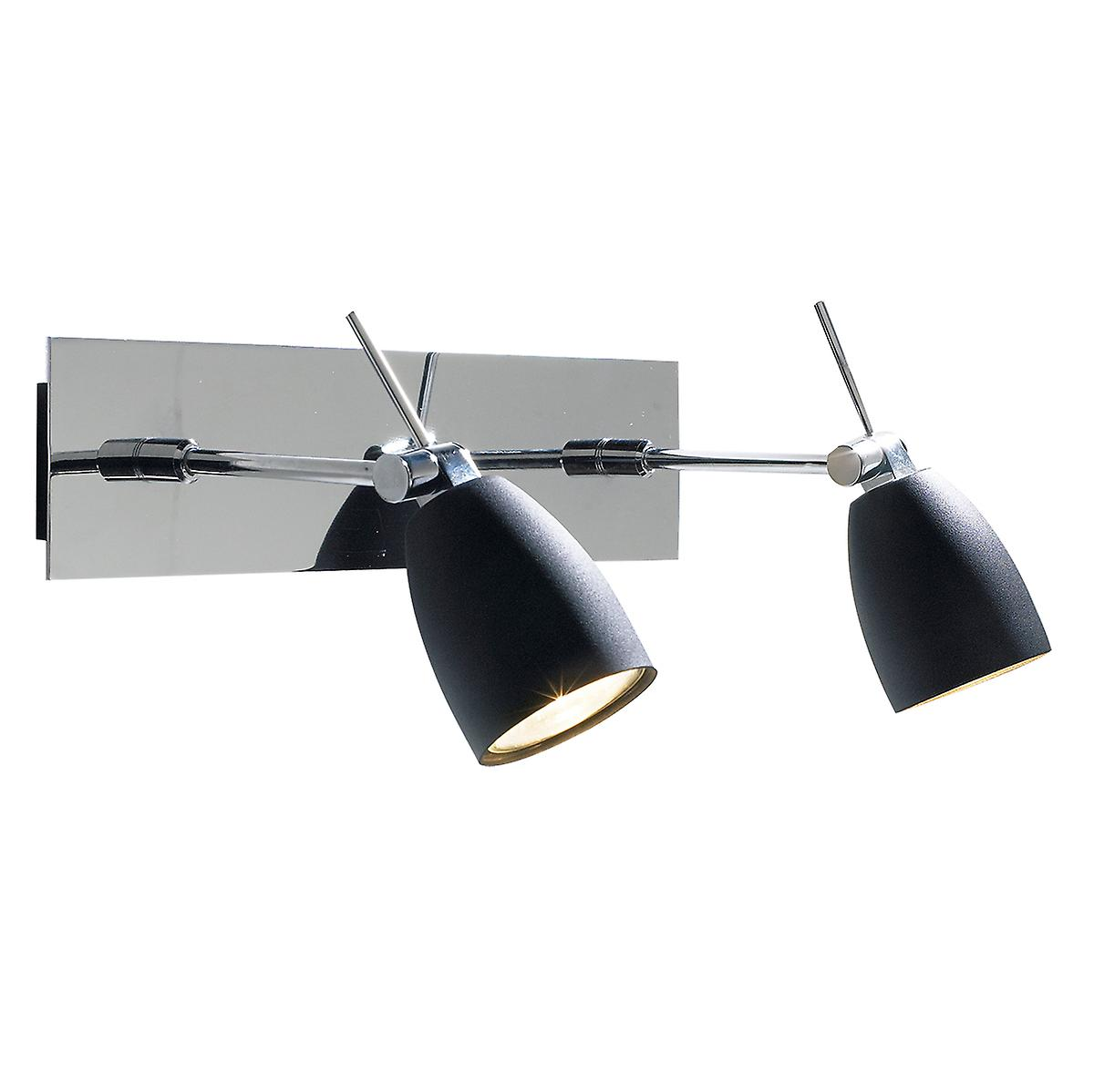 Dar EMP0950 Empire Contemporary Switched Wall Spotlight With Black Shades