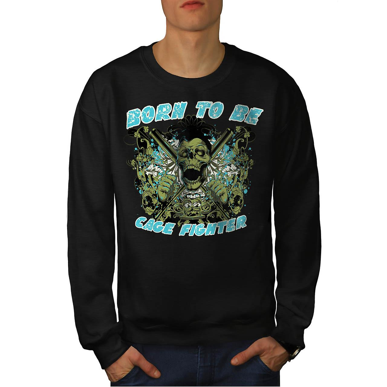 Born To Be Fighter Sport Men Black Sweatshirt | Wellcoda
