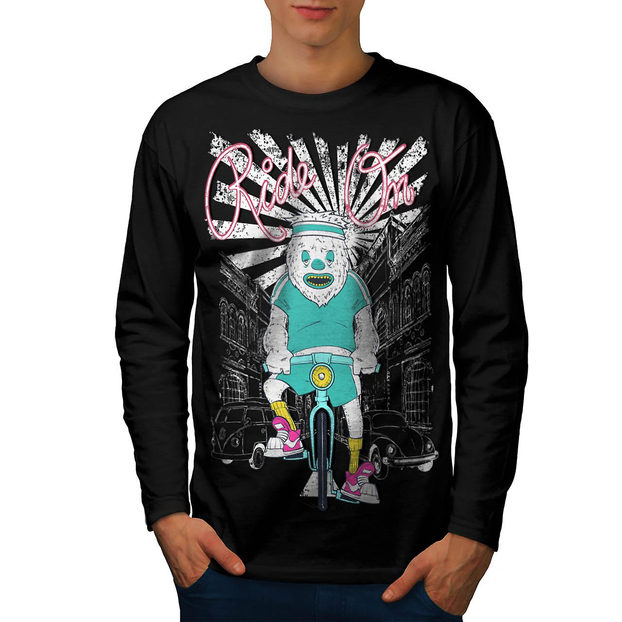 Ride On Monster Biker Men Black Long Sleeve T-shirt | Wellcoda