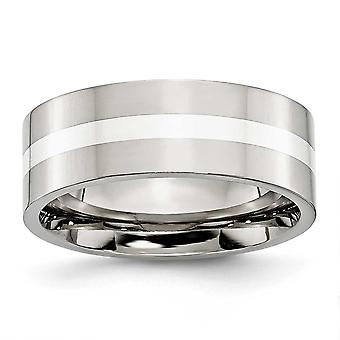 Stainless Steel Sterling Silver Inlay Flat 8mm Polished Band Ring - Size 10.5
