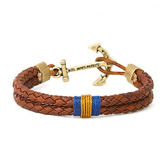 Kiel James Patrick Barnwood crisp anchor leather bracelet Brown